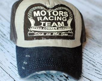 Womens Trucker Hats, Womens Distressed Baseball Caps, Trucker hat, Womens Motor Racing Hats, Womens Caps, Womens Gifts