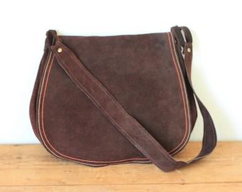 Vintage Dark Brown Suede Leather Flap Saddle Bag/ Chocolate Suede Leather Shoulder Bag Purse
