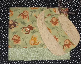 Cotton Baby Blanket and Bib Set,Personalized blanket,Monkey theme Baby Blanket and Bib Gift Set, Blanket and Bib