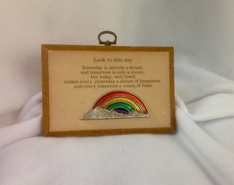 Vintage Paula's Plaque of Memories~ Look to This Day... ~ Wooden Plaque - 1970's - Rainbow & Hills