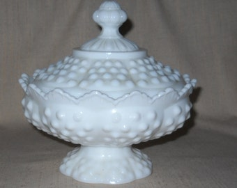 Fenton # 3886 Milk Glass Hobnail Low Footed Candy Box