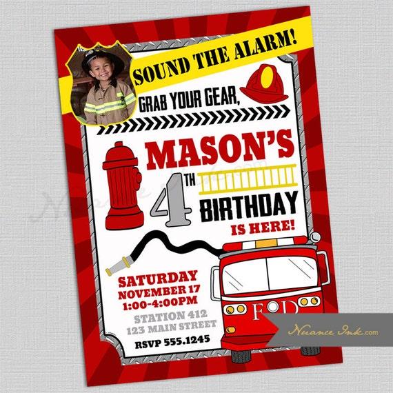 Fireman Birthday Party Invitations, fire station birthday party, printed or digital, 24 hr turnaround, hero, first responder, truck, hose