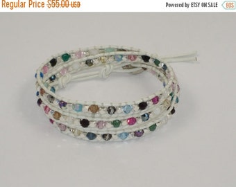 ON SALE Handmade Swarovski Crystal Mix and Sterling Silver Bead Leather Wrap Bracelet
