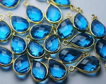 925 Sterling Silver Vermeil,Swiss Blue Quartz Faceted Pear Shape Pendant,2 Piece of 16mm