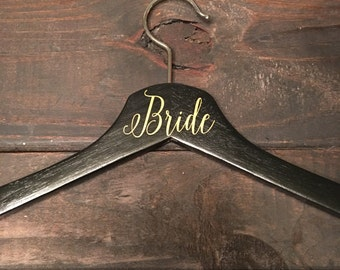 Black and metallic gold wedding hanger