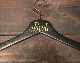SALE Black and metallic gold wedding hanger