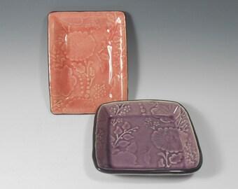 Pink and purple tray set - serving dish set - floral tray set - vanity tray set - bath organizer - desk organizer - jewelry holder T009