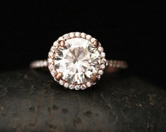 Rose Gold Engagement Ring with Moissanite Round 9mm Forever Brilliant and Diamond Half Eternity Diamond Band