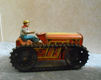 1940's Complete Wind-Up Marx Gold Bull Dozer with Driver