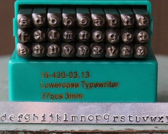 Brand New 3mm Typewriter Font Alphabet Letter Lowercase Stamp Set - Metal Stamp Set - Metal and Jewelry Design Tool - SGCH-TPL3MM