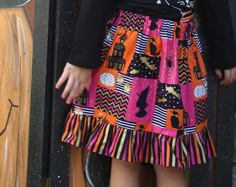 Halloween skirt, Girls ruffle skirt, autumn skirt, fall skirt, girls fashion, girls style