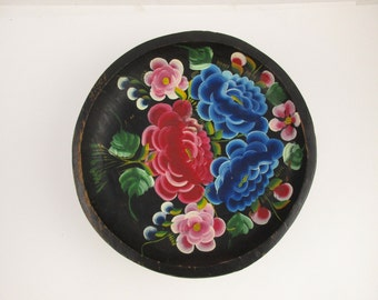 Rosemaling - Color - Painted Wood Bowl With Hand-painted Bright Flowers - Blue, Red and More - Great Leaf Detail - Wall Art - Made in Mexico