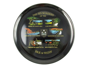 Souvenir Tray From 'The Six Wonders of the Isle of Wight' - Black Plastic Tray With Washes of Color - Gift Idea - Carry Stuff