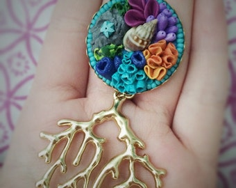 Coral Reef Polymer Clay Necklace in Gold