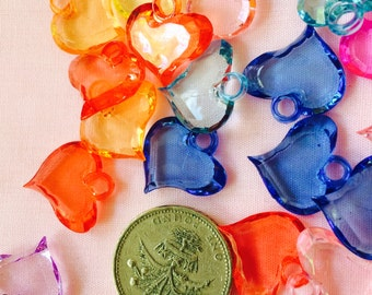 35 Heart Plastic Charms for Crafts & Jewellery Making