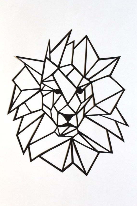 original simple lion papercut wall art basic. Black Bedroom Furniture Sets. Home Design Ideas