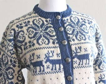 1960's Norwegian Fair Isle Blue and Ivory Cardigan Sweater by William Schmidt of Oslo Norway