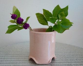 Pink Pottery Vase - Handmade