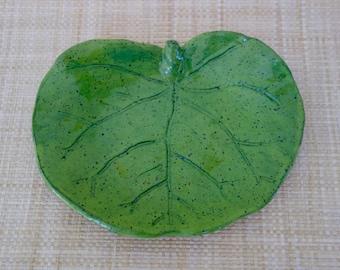 """8"""" Sea Grape Leaf Pottery Dish"""