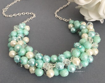 Mint Green Necklace, Pearl Necklace, Green and Light Blue Necklace, Mint Green Jewlery, Bridesamid Necklace, Wedding Jewelry