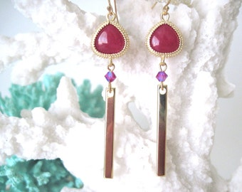Pink  earrings    Pink and gold earrings     Gold and pink earrings