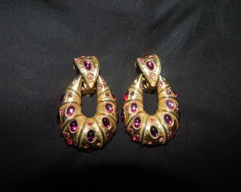 Vintage Door Knocker Style Earrings with pink and purple Cabouchon Stones