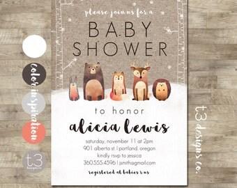 Winter Woodland Baby Shower Invitation, Forest Animals, Winter Baby Shower, Snow Baby Shower, Gender Neutral Animal Baby Shower Invite, T1