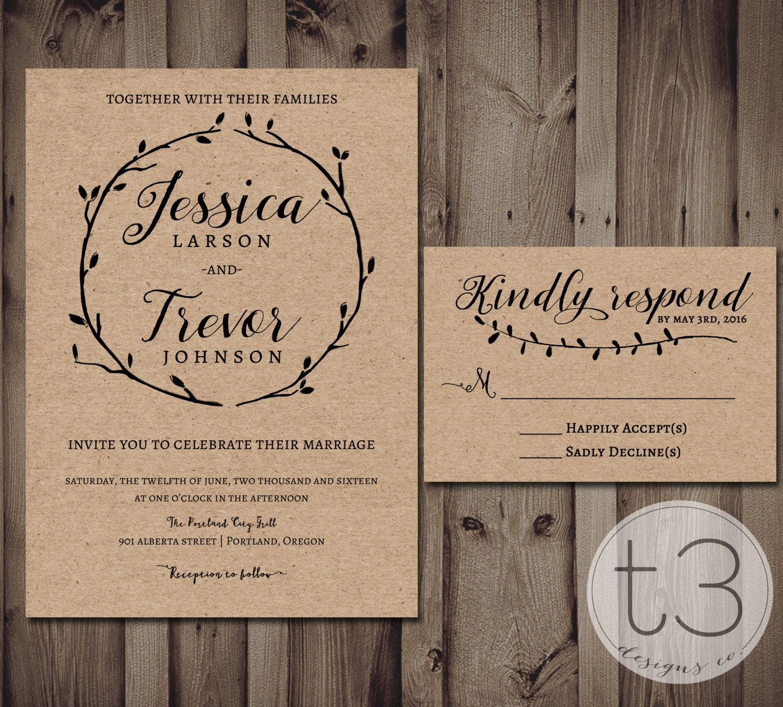 Rustic Wedding Invitation And Response Card Wedding
