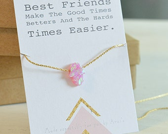 opal necklace,best friend necklace,opal gold necklace,hamsa necklace,friendship necklace,hamsa charm necklace,gift for her,opal -21250