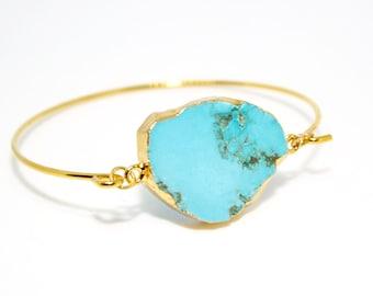 Turquoise Bangle, Turquoise Bracelet, December Birthday, December Birthstone, Turquoise Jewellery, Boho Bracelet, Ladies Gift, Boho Style
