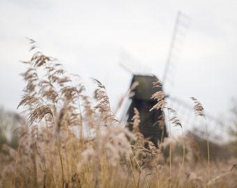 Dreamy Windmill Print - English Landscape Fine Art Photograph - Romantic Decor