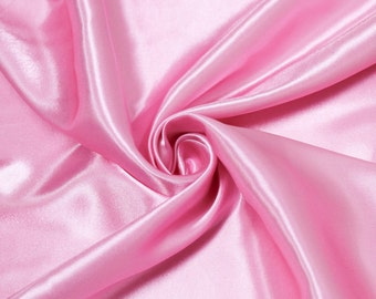 """60"""" Candy Pink Charmeuse Satin Fabric by the Yard, Charmeuse Fabrics, Charmeuse Satin, Bridal Wedding Satin Fabric- 1 Yard Style 2800"""