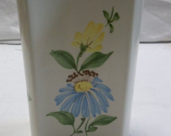 Vintage SADO FTD Vase Hand Made in Portugal, Blue and Yellow Flower,  S