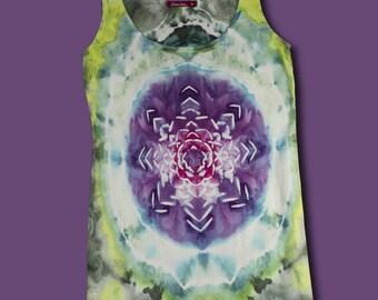 Ice Dye Tank Top, Women's S/M, Lotus Flower Long Line Tank, Tie Dye