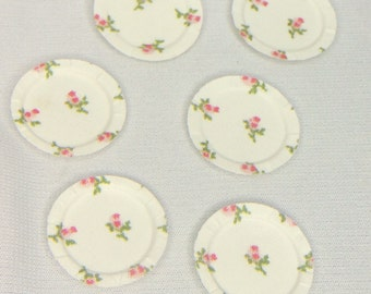 "Dollhouse Miniature 1"" White with Pink Roses Paper Plates"