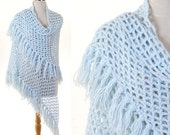 Vintage Hand Made Blue Knit Shawl / Light Blue Wrap / Long Fringe Shawl / Blue Crochet Shawl / Triangle Shawl