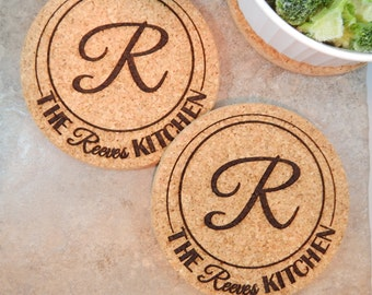 Personalized Kitchen Cork Hot Pads Trivets.  Custom Engraved Thick Pads (TWO) Good Vibrations