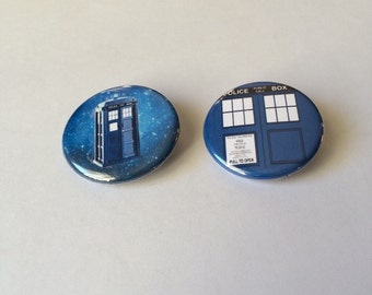 TARDIS Pin, Tardis Button, Doctor Who TARDIS, TARDIS in Space Pin/Pinback Button 2 Pack Doctor Who Pin, Doctor Who Button,  Badge
