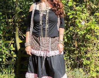 Reduced for Sale Karena Gypsy Unique Long Skirt Bohemian Feminine Black and Pink Alternative Renaissance Fairytale Festival Hippie Hippy