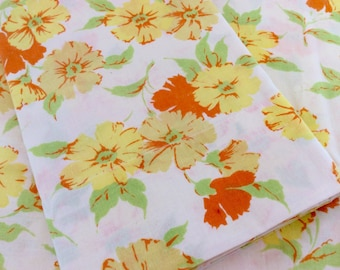 Vintage  Pillowcases Yellow Flowered King Size