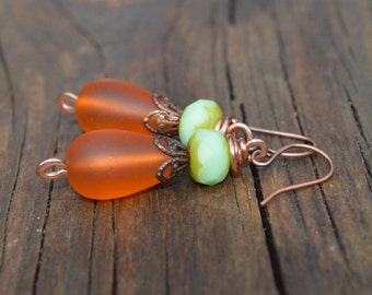 Mint Green Czech Glass and Orange Sea Glass Beaded Earrings