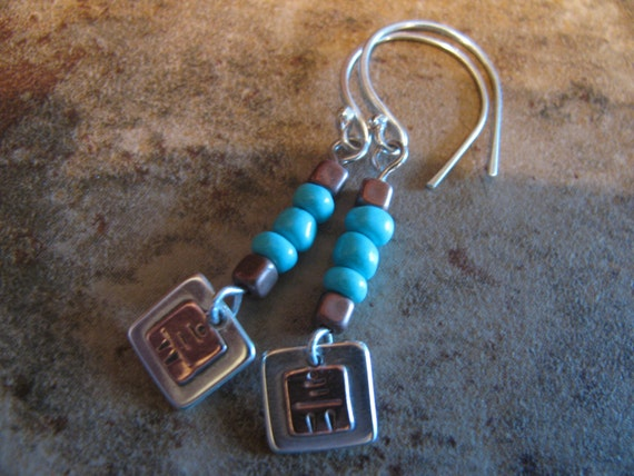 Sterling Silver, Copper, Turquoise Carin  Earrings , Hand Forged, Hand Cut, Mixed Metal, Mixed Media Earrings, Boho, Chic, Toniraecreations