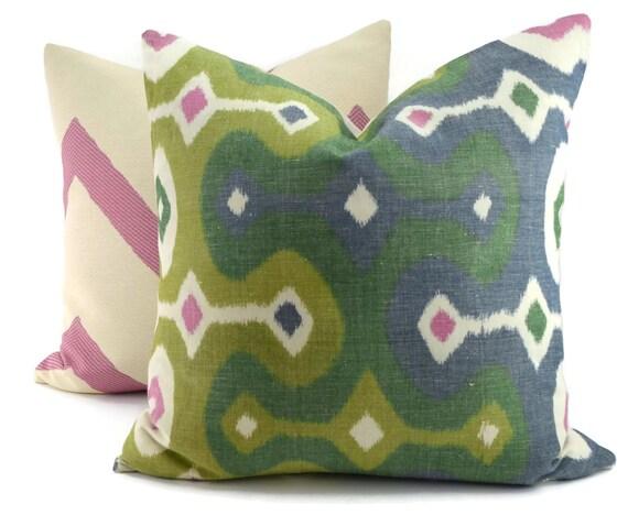 Navy And Pink Decorative Pillows: Darya Ikat Jewel Throw Pillow Cover Green Navy Pink & Off