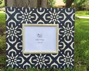 encaustic tile pattern 8x10 navy & white modern distressed picture frame | gallery wall art | gift for friend | custom wood home decor |