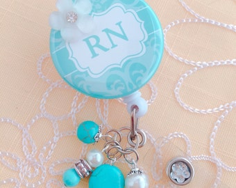 RN | Registered Nurse Damask Turquoise Blue Retractable Badge Holder