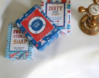 Set of 3 nautical soaps- Scrubber's, Fresh fisherman's and Dirty surfer