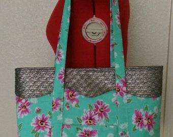 Teal Floral Tote Bag