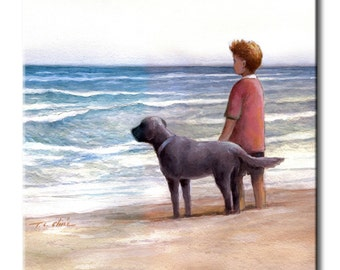 Boy with His Dog on the Beach Art Tile Print on Ceramic with Hook or with Feet Indoor Use -Gift for Boys or Dog Lovers