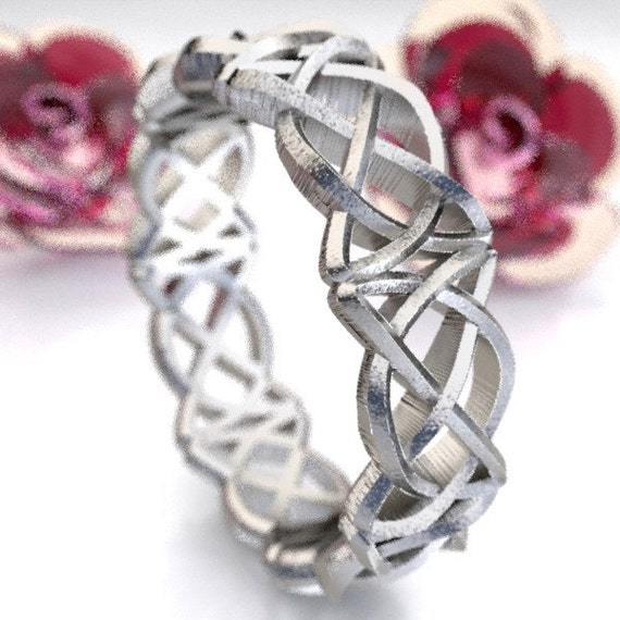 Celtic Wedding Ring With Pretzel Triangle Cut-Through Knotwork Design in Sterling Silver, Made in Your Size CR-50
