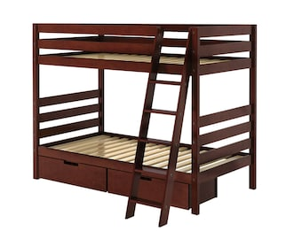 Twin Bunk Bed with Angle Ladder and Storage Drawers, Cherry